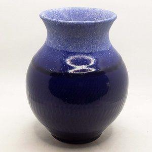 Cobalt blue glazed art pottery vase, signed